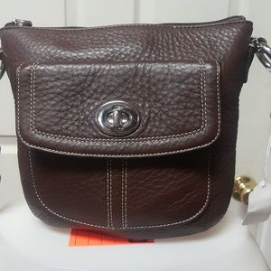 NWT Coach brown leather crossbag